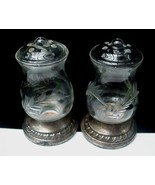 Etched Crystal Glass & Sterling Silver Salt & Pepper Shakers - $20.00
