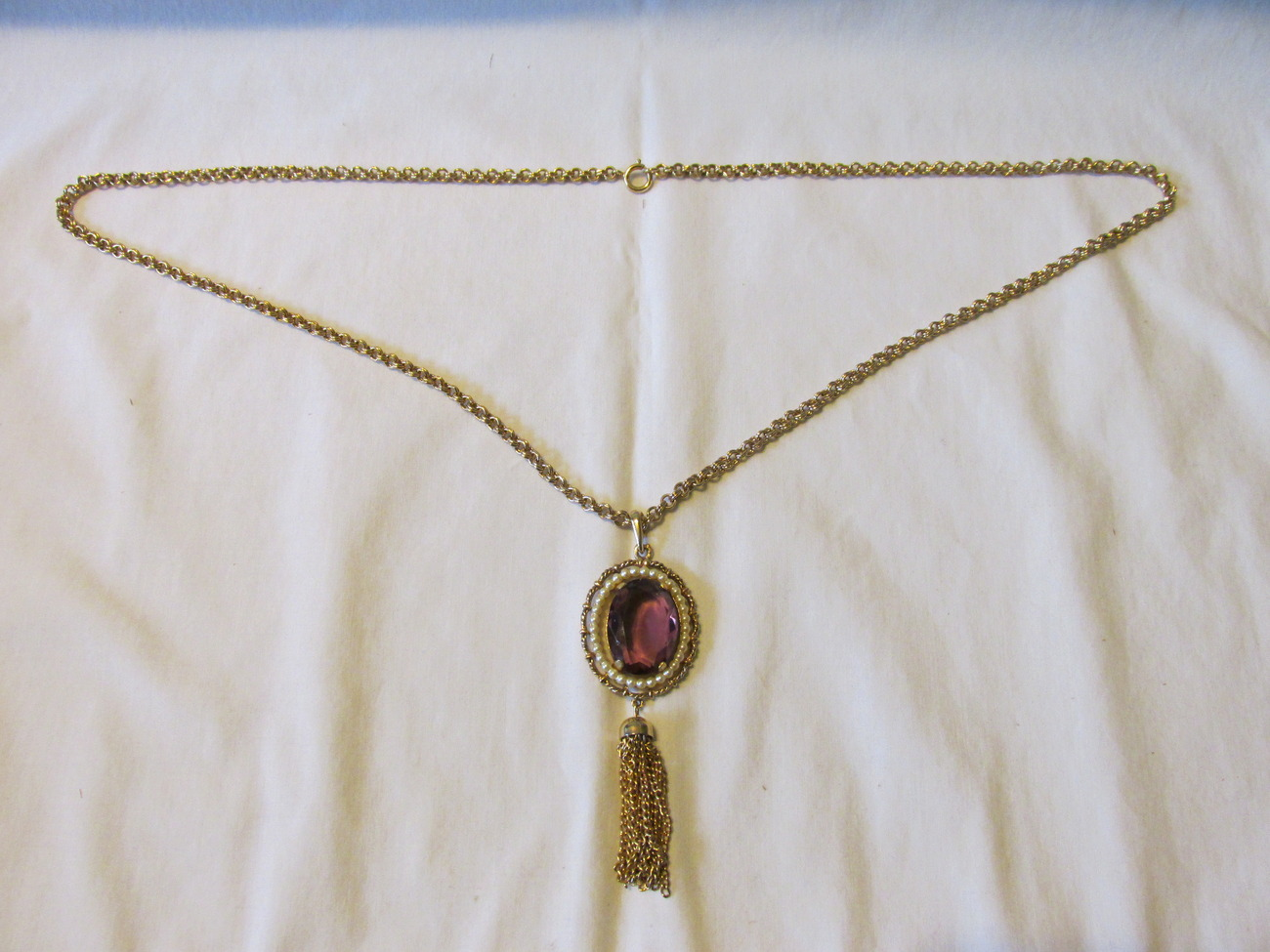"Vintage Avon ""Purple Pendant"" Amethyst Glass Pendant Necklace, Seed Pearls, 1972"