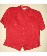 LADIES LINEN BLOUSE BY CARRY BACK, SIZE 6, RED, SHORT SLEEVES - $13.69