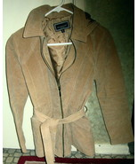 LADIES REAL LEATHER JACKET WITH HOOD BY MARCELLE RENEE, FULLY LINED, SIZ... - $29.99