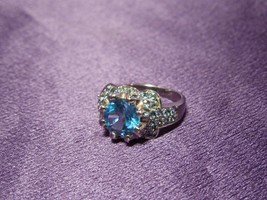 Blue Topaz & Sterling Silver Halo Ring, Size 9 - $148.50
