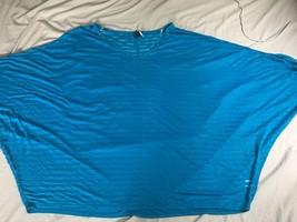 Lane Bryant 26/28 top sheer striped blue poncho beach coverup - $24.36
