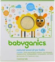 BabyGanics, Natural Wool Dryer Balls, 3 Wool Dryer Balls - $38.98