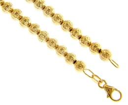 18K YELLOW GOLD BRACELET 19cm WORKED SPHERES 4mm DIAMOND CUT BALLS image 1