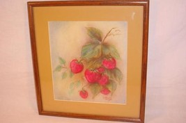 VINTAGE ORIGINAL SIGNED PASTEL DRAWING STRAWBERRIES LILLIAN ANGELI - $25.73