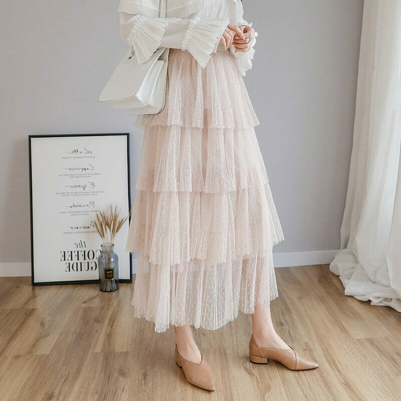 Primary image for Spring New Sweet Cake Layered Long Mesh Skirts Princess High Waist Ruffled Vinta