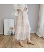 Spring New Sweet Cake Layered Long Mesh Skirts Princess High Waist Ruffl... - $23.99