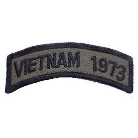 Primary image for VIETNAM 1973 OD SUBDUED SHOULDER ROCKER TAB EMBROIDERED MILITARY PATCH