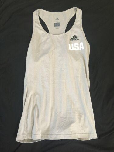 Adidas USA Women Ladies Tennis Tank Top Gray Climalite Small Running Yoga C