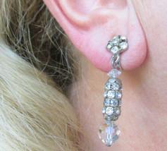 AB Crystal Rhinestone Rondelles Earrings Dangling Pendant Clips Vintage  - $13.50