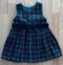 Girl's Size 24 M Months Green/Red Plaid Gymboree Corduroy Dress W/ Black... - $17.00
