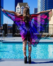 Neon Melting Pink and Purple Butterfly Rave Cape - $19.75