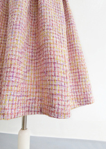Pink Winter Tweed Skirt A-line High Waisted Pink Midi Tweed Skirt image 9