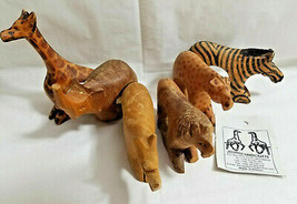 6 Jedando Kenya Handicrafts Wild Animals Napkin Rings Craved Mahogany Wood - $28.99
