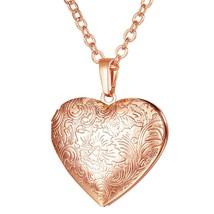 U7 Necklaces Flower Locket Heart Pendant & Chain Gold/Silver Color 2018 ... - $18.62