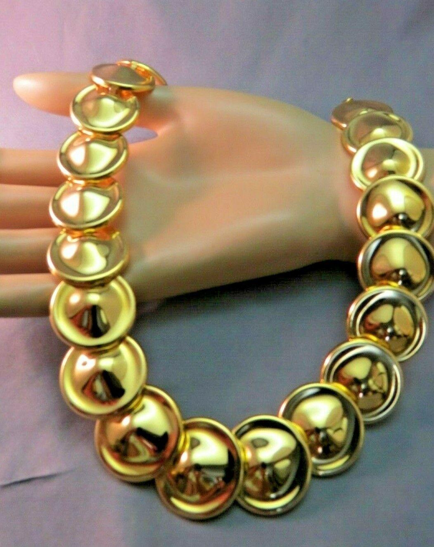 """Monet Necklace Gold Plated Bib Bold Circle Links 18"""" Designer Nice Vintage"""