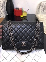 AUTH CHANEL BLACK QUILTED LAMBSKIN LEATHER MAXI CLASSIC FLAP BAG SHW - $3,888.00