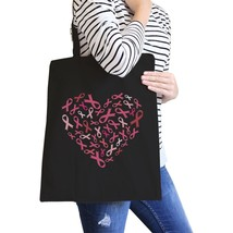 Pink Ribbon Heart Black Canvas Bags - $14.99