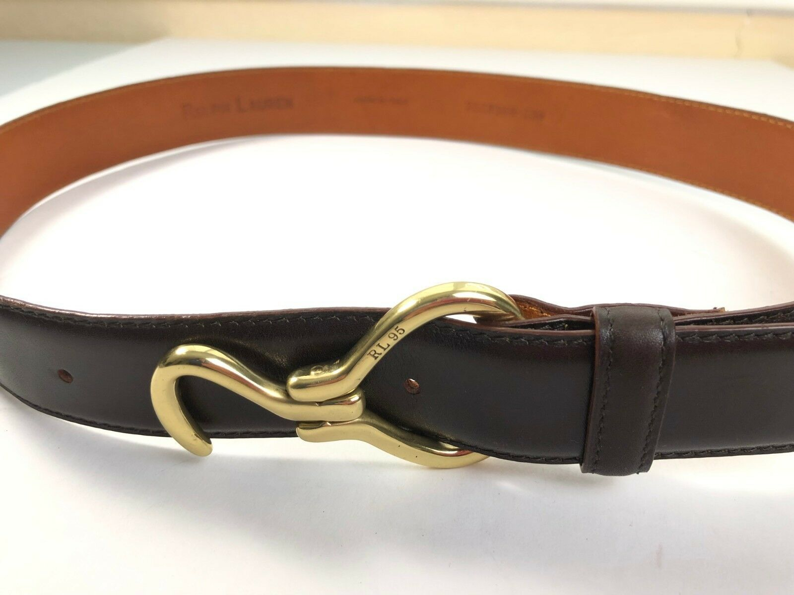 Ralph Lauren Brown Leather Belt Size 30 Mens Made In Italy 90s