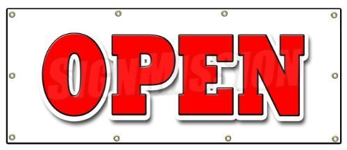 36x96 OPEN BANNER SIGN grand opening new store for business shop sale retail by