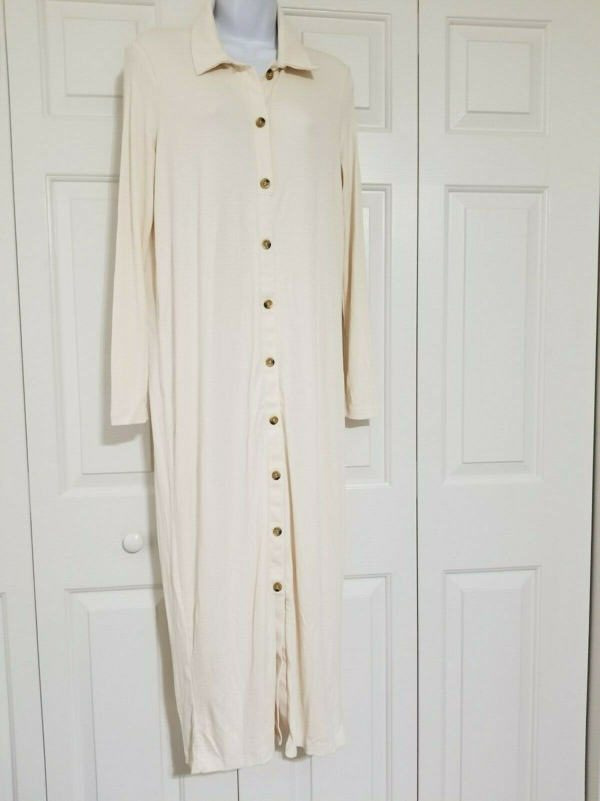 Asos Design Rib Maxi Polo Shirt Dress With Buttons Ivory Size US 10 NWT