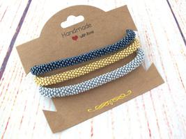 Set Of Beaded Bracelets Silver Gunmetal Gold Bangle for Women or Mens 7 ... - $17.00+
