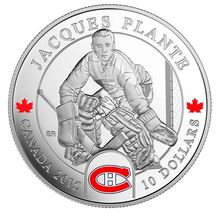 NHL Goalies: Jacques Plante, Montreal Canadiens - 1/2 oz Pure Silver Coin - $110.00