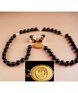 designer pearl necklace earrings - sterling pierced onyx pearls - man in... - $125.00