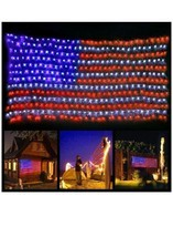 Patriotic decor Memorial Day Labor Day LED American Flag String Lights (a) - £92.57 GBP
