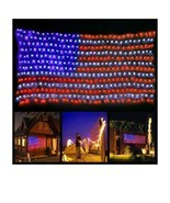 Patriotic decor Memorial Day Labor Day LED American Flag String Lights (a) - £91.38 GBP