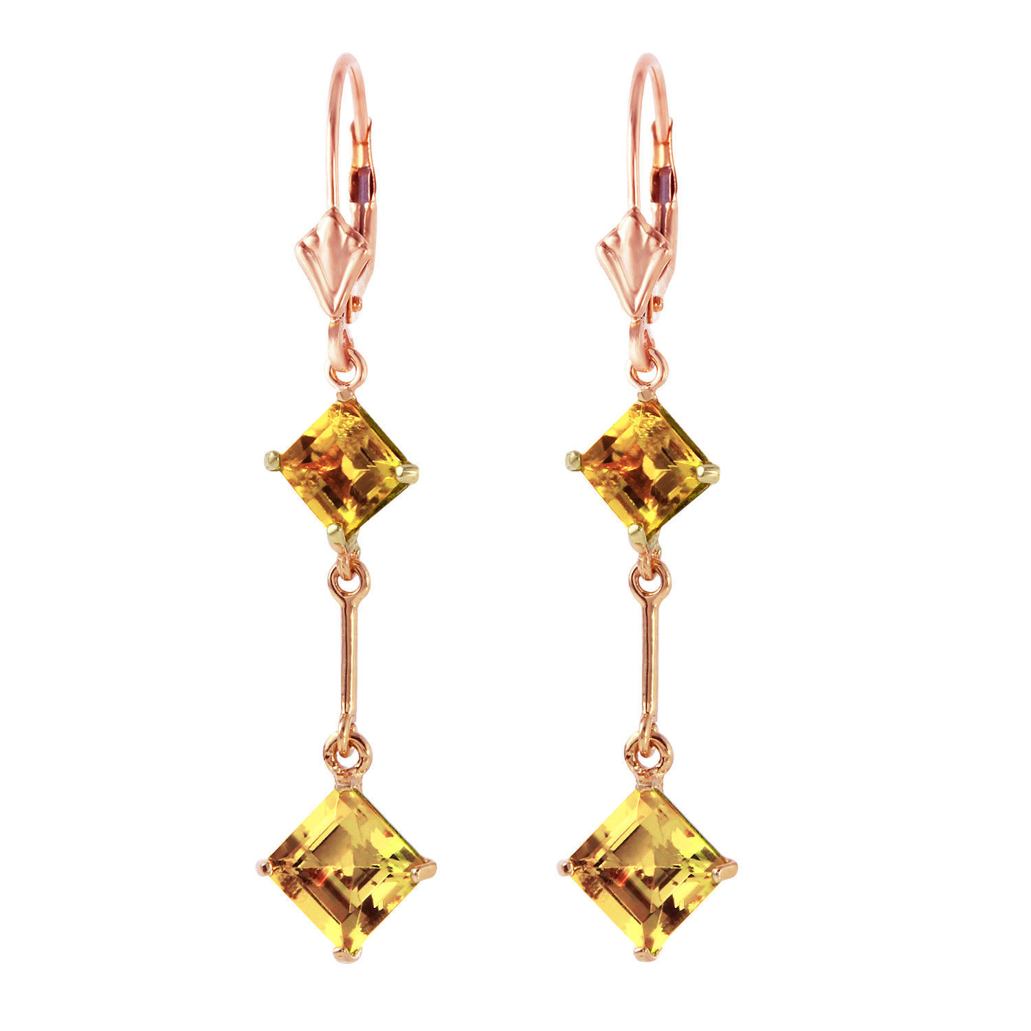 Primary image for 14K Solid Rose Gold Women's Stunning Leverback Fashion Earrings w/ Citrines