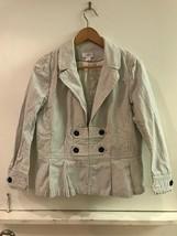 Ann Taylor LOFT Women's Cream Gray Striped Hook and Eye Closure Jacket Size 12 - $18.95