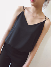 Women Sleeveless V-Neck Chiffon Top Summer Wedding Bridesmaid Chiffon Tops US12