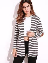 Casual Women Shawl Collar Elbow Patch Striped Open Front Cardigan Long S... - $29.99
