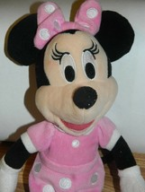 "Disney Minnie Mouse Plush Doll 10"" Tall Vintage Pink Bow Poke a Dot Dress - $12.34"