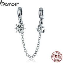 BAMOER New Arrival 925 Sterling Silver Voyage Anchor and Rudder Safety C... - $23.22