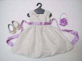American Girl Flower Girl/Wedding Dress Set w Veil Shoes & Purse- Retired - $34.92