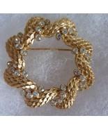 Vintage CROWN TRIFARI Signed Clear Rhinestone Wreath Brooch Pin - $47.04