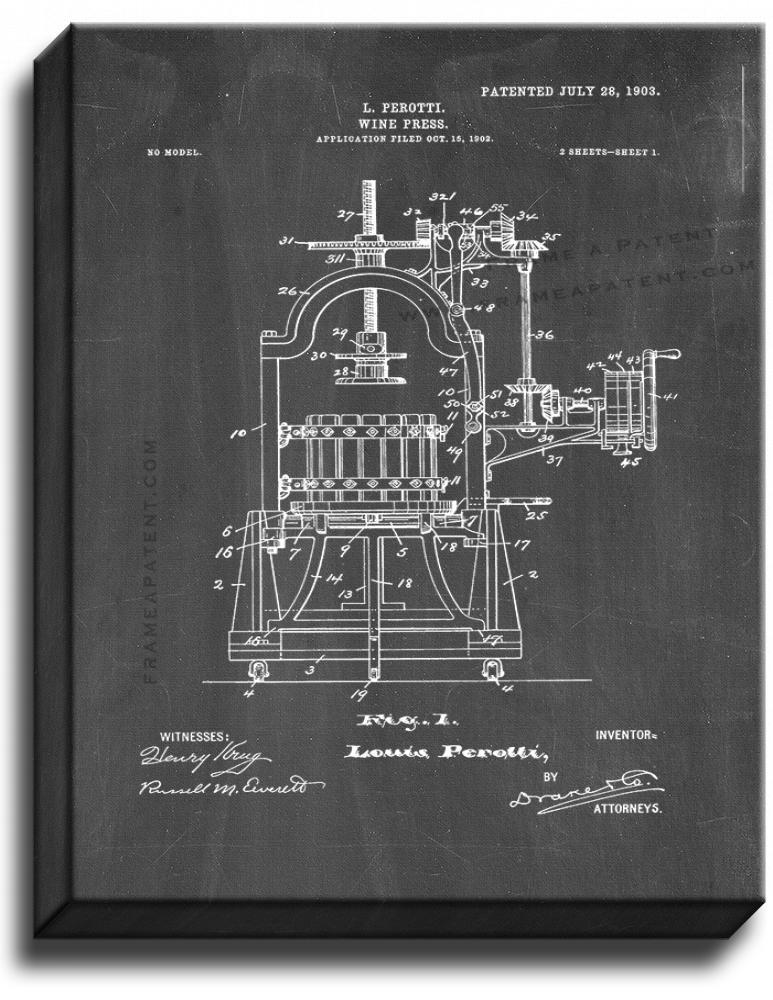 Primary image for Wine Press Patent Print Chalkboard on Canvas