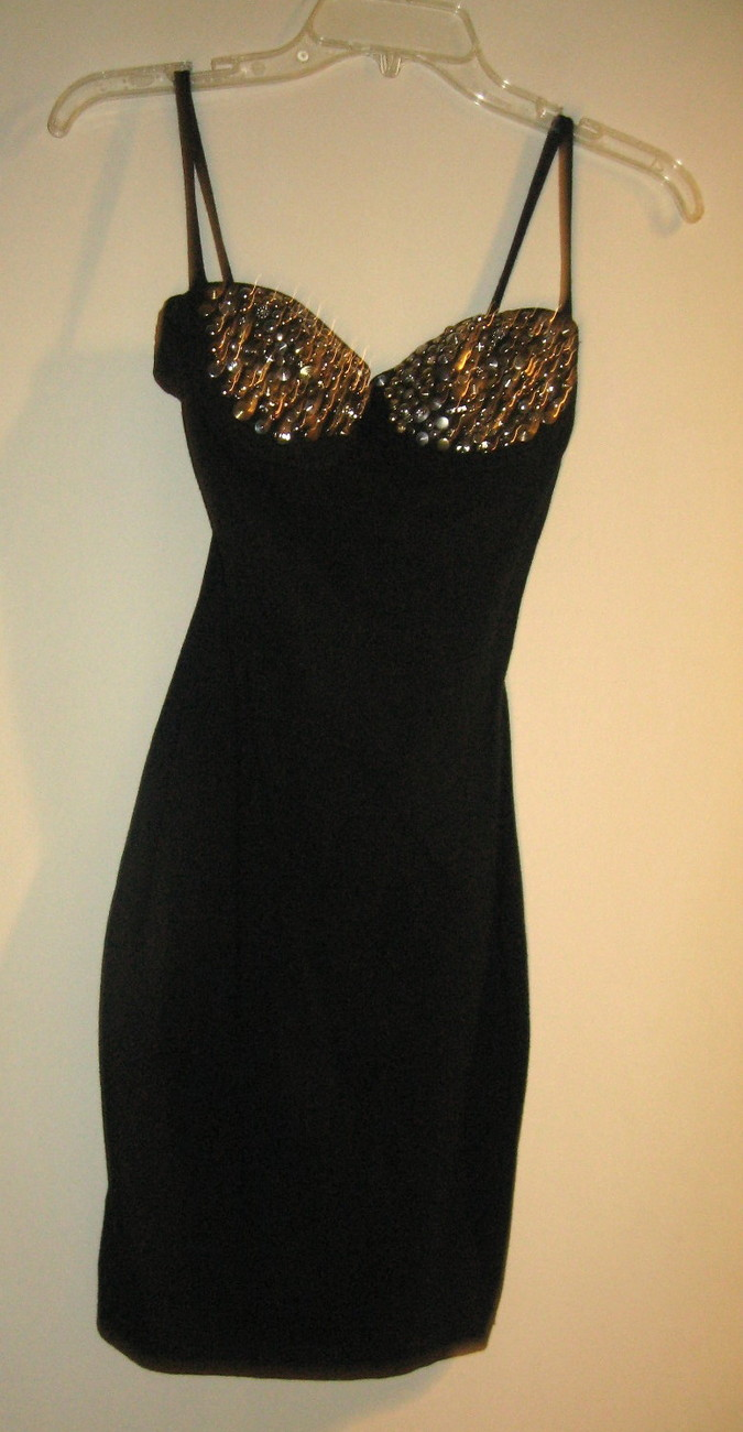 LITTLE BLACK DRESS WITH BLING, SIZE SMALL, SILVER & GOLD STUDS