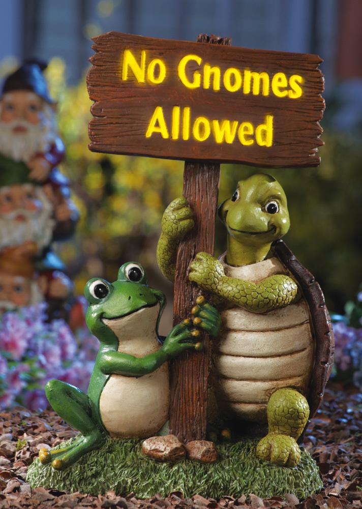 Gnome Garden: No Gnomes Allowed Lighted Garden Statue