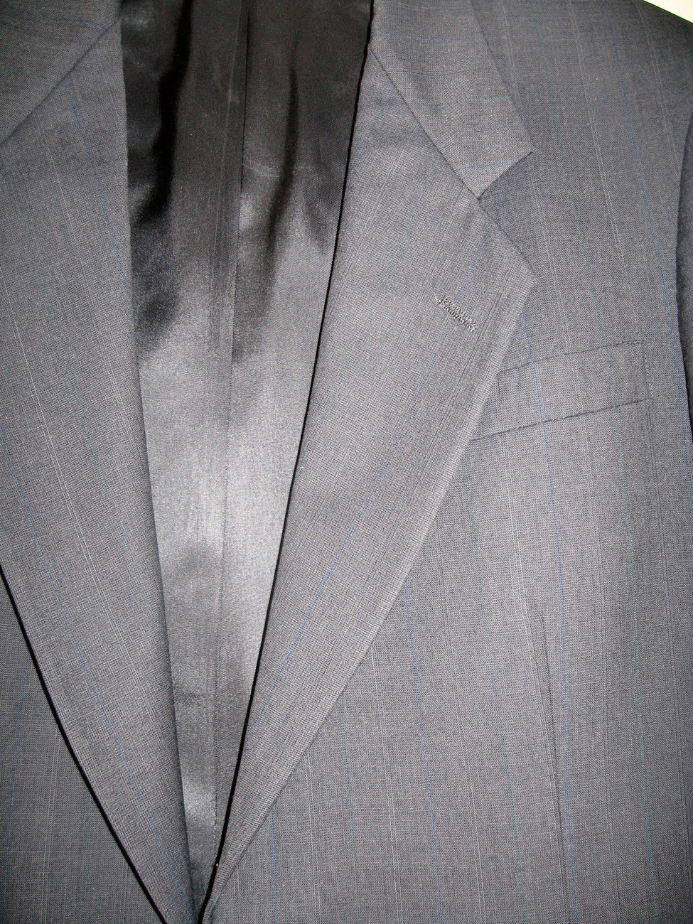 MEN'S BLAZER SIZE 40 R, GREY, WOOL, TAILORED IN USA
