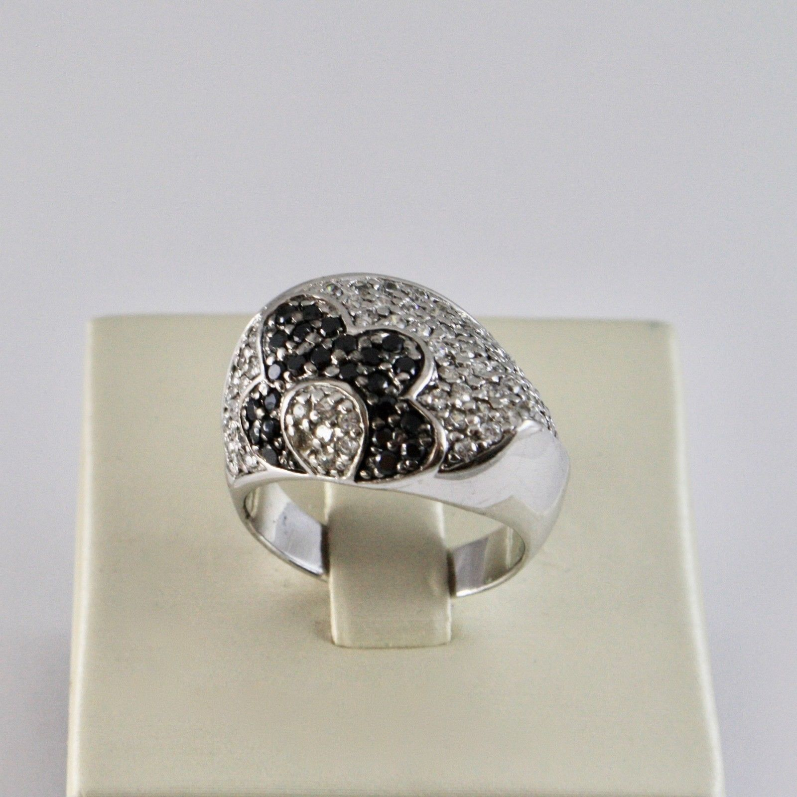 925 SILVER RING WITH FLOWER ZIRCON CUBIC WHITE AND BLACK