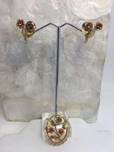Vintage Krementz Gold Overlay Rose Pin Screwback Earring Set Rose Yellow - $33.80