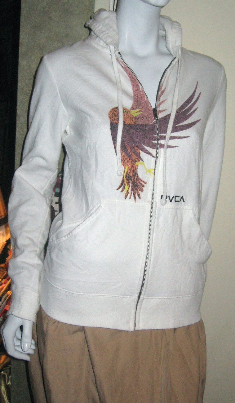 RVCA WOMEN'S HOODIE WHITE WITH EARTH-TONE DESIGN SZ SMALL