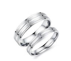 USA 2pcs Titanium Stainless Steel Couple Ring Engagement Promise Matchin... - $362,43 MXN