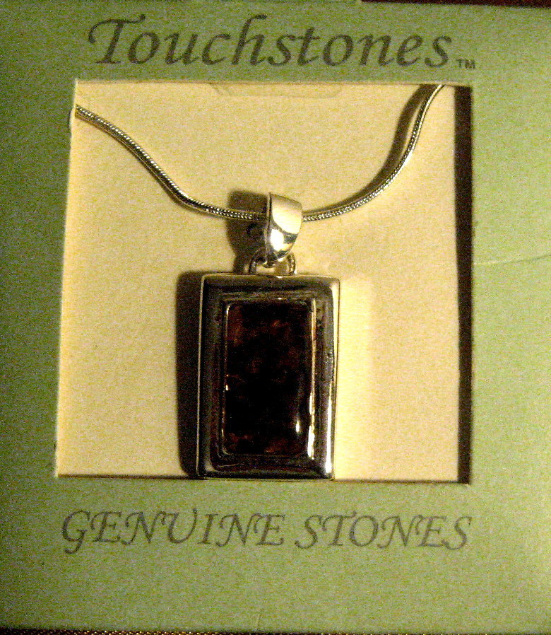 Primary image for STERLING SILVER SNAKE CHAIN NECKLACE WITH GENUNINE AMBER PENDANT, NEW IN BOX