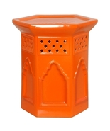 ORANGE MOROCCAN Moorish Ceramic Garden STOOL or... - $269.00