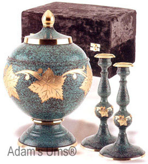 ADULT BRASS FUNERAL CREMATION URN MEMORIAL SET W. BOX