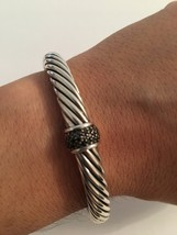Pre Owned David Yurman 7mm Classic Cable Bracelet with Black Diamonds Size Mediu - $495.00